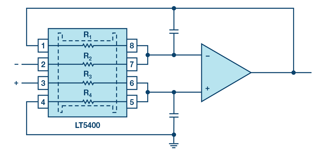 Figure: Differential amplifier circuit with LT5400.